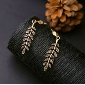 Golden Rhinestone Leaf Dangle Drop Earrings